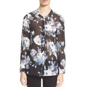 Joie Devitri Floral Print Silk Blouse